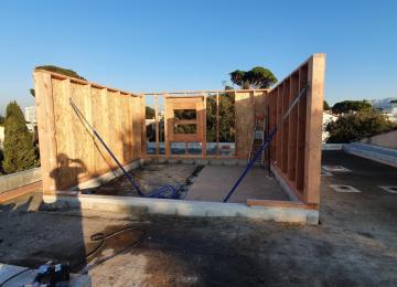 Pose murs ossature bois - Maison Bois à Marseille 13008