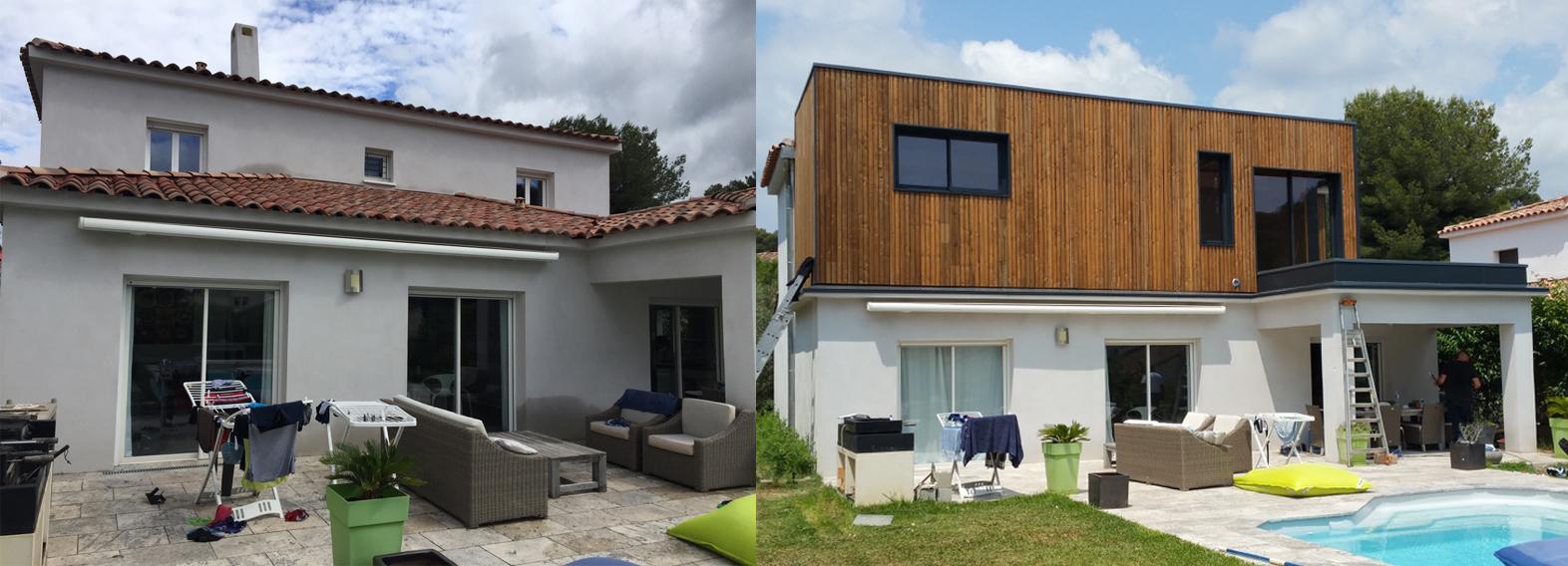 Ossature bois avant apr s r novation extension - Renovation maison avant apres ...